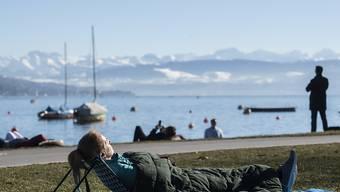 Eine Frau geniesst das frühlingshafte Wetter am Zürichsee. (KEYSTONE/Ennio Leanza)
