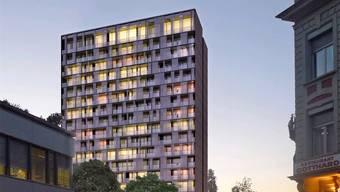 Hier wird es stehen, aber anders aussehen: Visualisierung des Hochhauses aus dem Büro Zulauf & Schmidlin von 2012. (Archivbild)