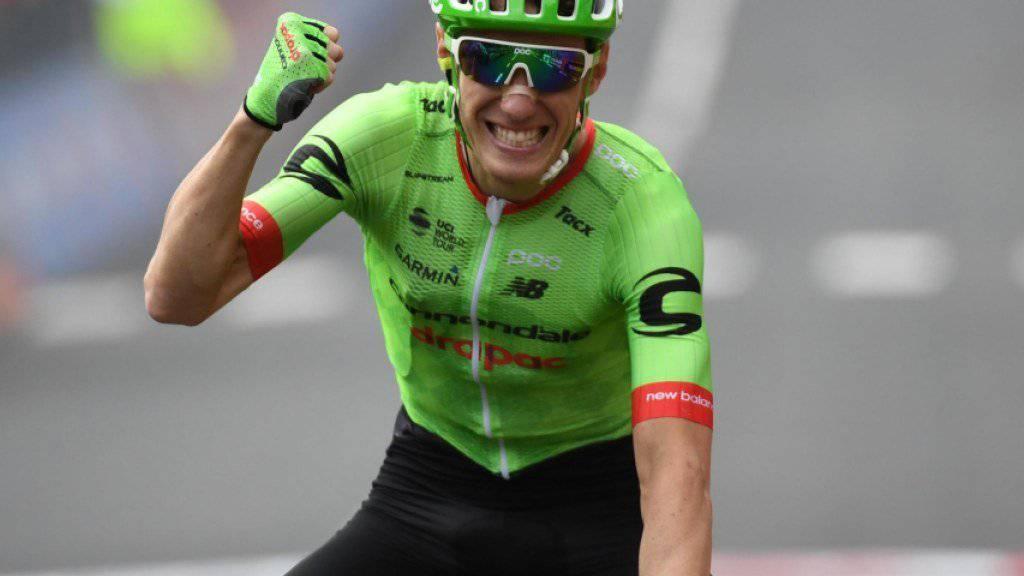 Jubel über den ersten Etappensieg am Giro: Pierre Rolland