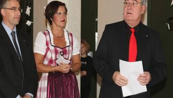 V.l.: Markus Arnold (Vizepräsident Gewerbeverband Grenchen), Claudia Bieri (OK-Präsidentin der Grewa) und Boris Banga (Stadtpräsident).