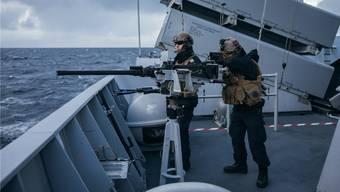 Norwegische Soldaten am Nato-Manöver vor der Küste Nordnorwegens.