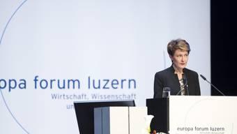 Bundespräsidentin Sommaruga spricht am Europa Forum in Luzern