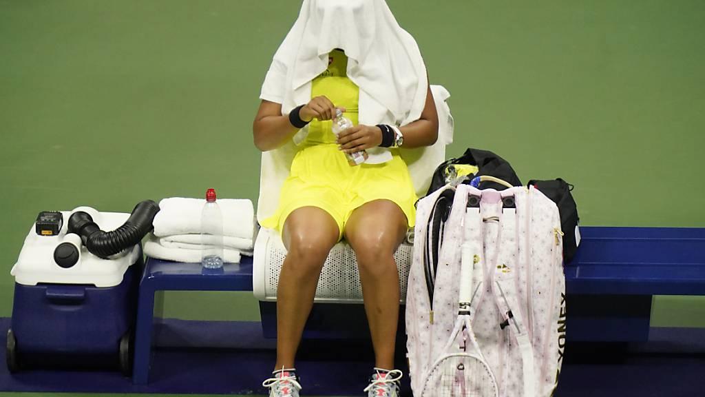 dpatopbilder - Tennisstar Naomi Osaka ist nach ihrem frühzeitigen aus bei den US Open enttäuscht und kündigt eine Tennis-Pause an. Foto: Frank Franklin II/AP/dpa