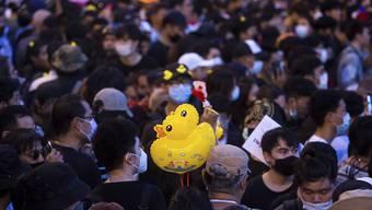 Während einer pro-demokratischen Demonstration in Bangkok, Thailand, trägt ein Protestteilnehmer Luftballons, die die Form einer Ente haben. Foto: Wason Wanichakorn/AP/dpa