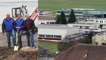Spatenstich (v. l.): Projektleiter Franz Peier, Bimbosan-Geschäftsführer Daniel Bärlocher und Architekt Rainer Germann markieren den Baubeginn auf dem Areal der Bimbosan AG.