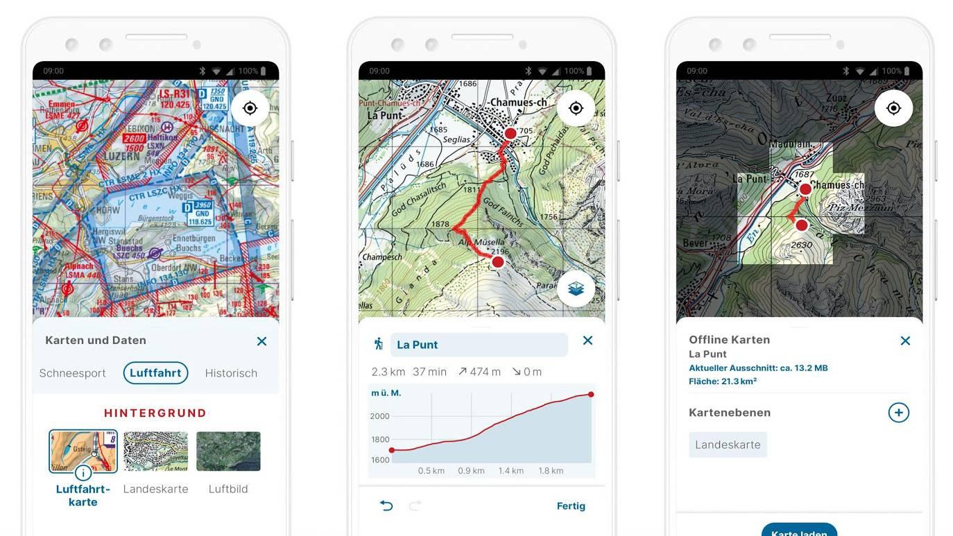 Swisstopo App Printscreens