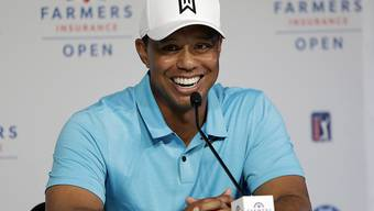 Tiger Woods - gut gelaunt vor den Medien