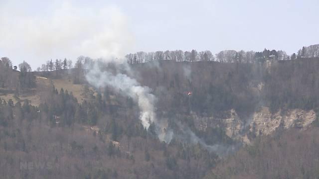 Schwieriger Waldbrand in Günsberg