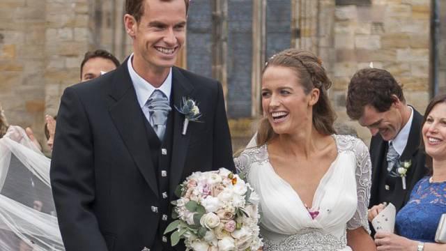 Andy Murray mit seiner Frau Kim nach der Trauung in Dunblane