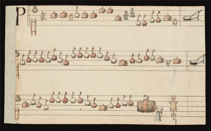 Heute würde es Partysong genannt: Ein Trinklied in Scherznotation, 1565. UB/zvg