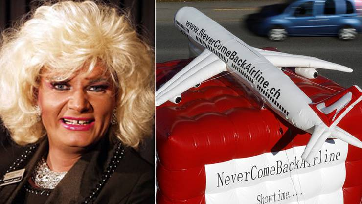 Christian Loose tritt als Yvette Tuschuur in der Never Come Back Airline auf.  Das Flugzeug macht Werbung für die Travestie-Show.