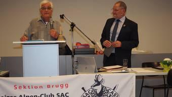 Max Schärli (links) verabschiedete SAC-Sektionspräsident Heinz Frei aus dem Amt.