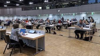 Der Baselbieter Landrat hält seine Sitzungen wegen Corona seit Anfang April im Congress Center Basel ab.