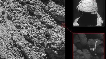 Nach langer Suche nach dem kühlschrankgrossen Landeroboter Philae haben ESA-Forschende ihn nun endlich in Oberflächenaufnahmen des Kometen Tschuri entdeckt.