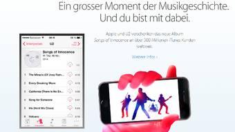 Apple wirbt für das Gratis-Album von U2.