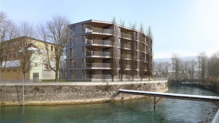 Die Visualisierung zeigt, dass die Wohnungen im geplanten abgewinkelten Neubau in starkem Masse auf den Spinnereikanal und die Landschaft ringsum ausgerichtet sind. zvg