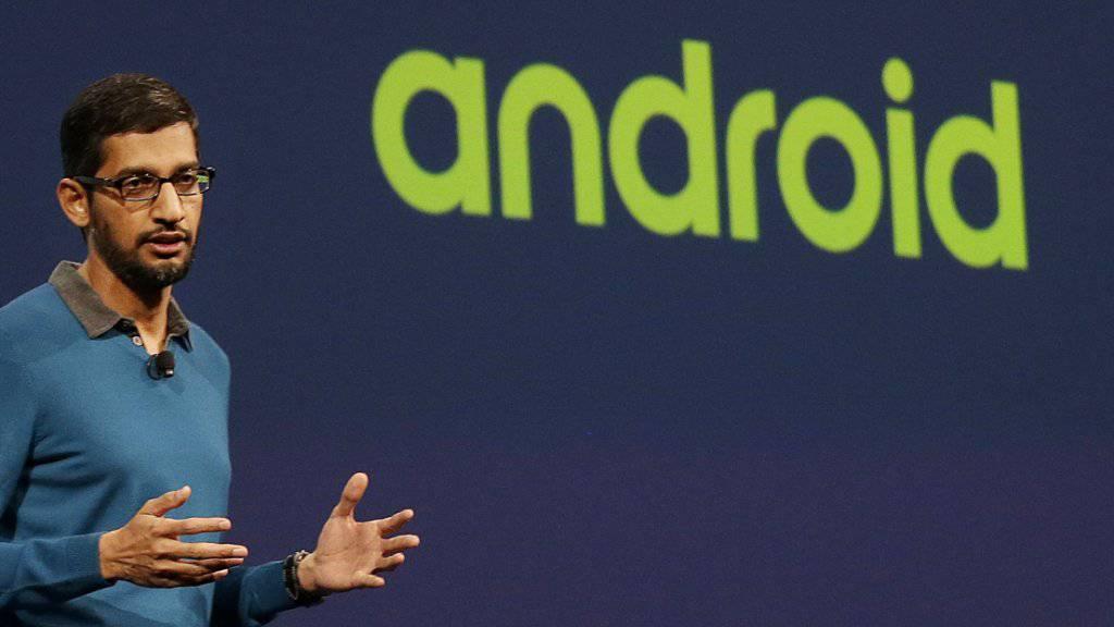 Die neue Android-Version heisst «Marshmallow». Google-Android-Chef Sundar Pichai stellt die Version an der Entwicklerkonferenz Google I/O in San Francisco vor.