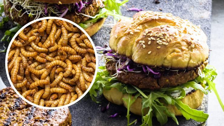 Seit Montag bietet Coop in einzelnen Filialen Mehlwürmer-Burger an.