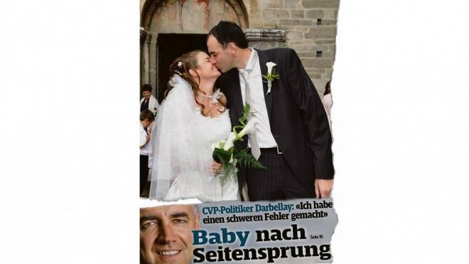Glück und Pech liegen auf dem Boulevard nahe beieinander: Christophe Darbellays medial inszenierte Hochzeit im Juli 2007 (Ausriss oben), Schlagzeile zum jüngsten Darbellay-Nachwuchs am letzten Wochenende (Ausriss unten).  Ausriss: SonntagsBlick