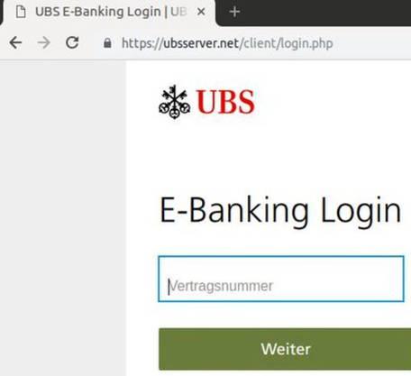 Die Fake-Seite hat ein Sicherheitszertifikat, aber die Adresse https://ubsserver[.]net stimmt nicht mit der Original-URL der UBS überein.