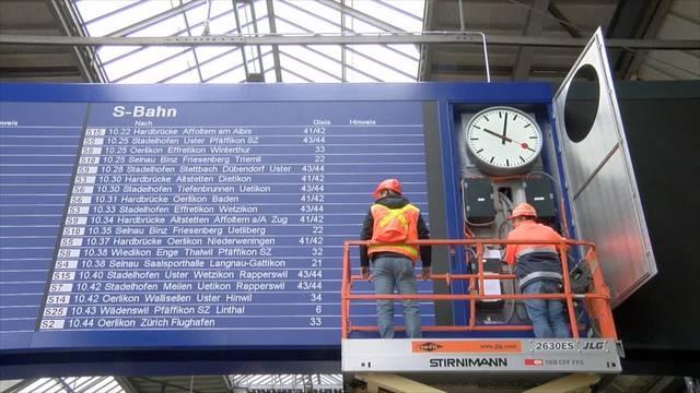 Die neue LED-Anzeigetafel im Zürcher Hauptbahnhof.