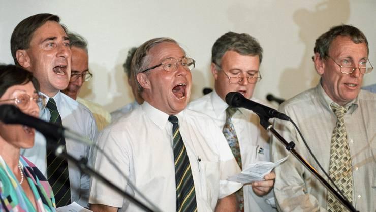 Die SVP erfreut sich im Ort grosser Beliebtheit. Im Bild: Christoph Blocher bei einer Feier der Partei.