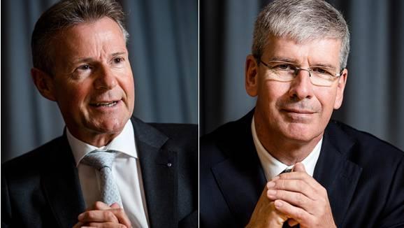 Wechsel bei der Neuen Aargauer Bank: Peter Bühlmann (links) tritt nach neun Jahren als CEO ab und wird Verwaltungsratspräsident. An seine Stelle rückt der bisherige CFO Roland Herrmann.