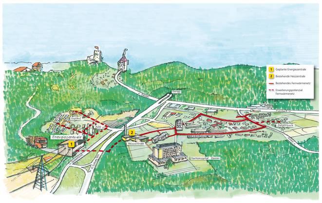 Visualisierung der neuen Energiezentrale mit Anschluss an das bestehende Fernwärmenetz Dättwil.
