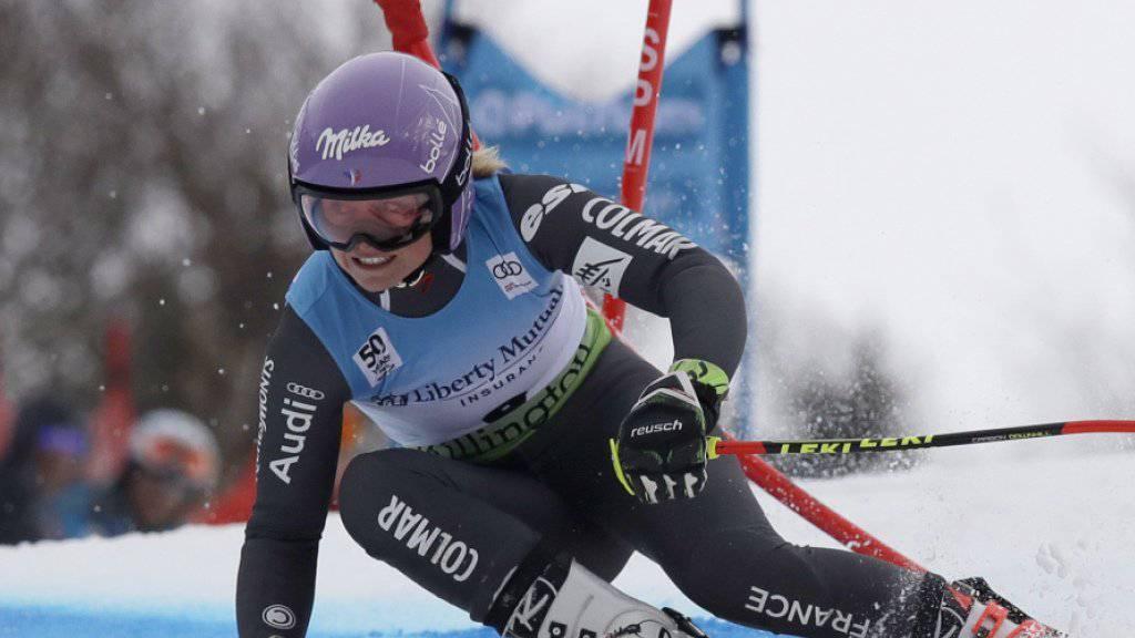Tessa Worley unterwegs zur zweitbesten Zeit im ersten Lauf
