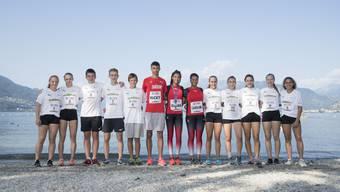 Der Aargauer Leichtathletik-Nachwuchs mit den drei Medaillengewinnern.