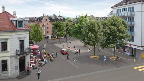 Visualisierung des Röschibachplatzes von der Nordstrasse (Planungsstand 18. Dezember 2012)