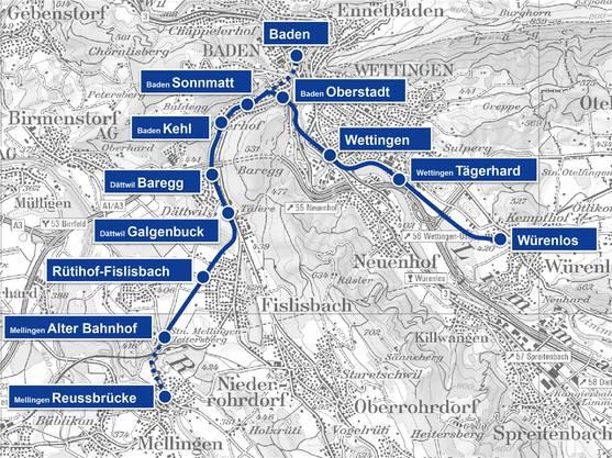 So könnte die Stadtbahn einst verlaufen. Der Tunnel zum Bahnhof Baden und die Verbindung an die Mellinger Altstadt müssten noch gebaut werden.