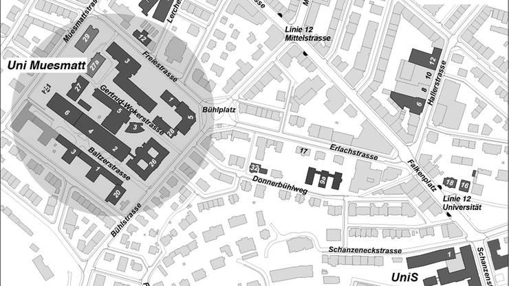 Plan des Länggass-Quartiers mit den verschiedenen Uni-Gebäuden. Bild: Uni Bern/zvg