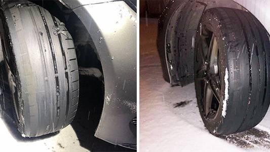 Mit solchen Reifen war der Mann am Wochenende unterwegs.