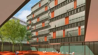 Visualisierung: Frühestens Anfang Dezember kann das geplante neue Wohnhaus der St.-Josef-Stiftung mit dem komfortablen Innenhof baulich angepackt werden; links der bestehende Zentralbau. ZVG