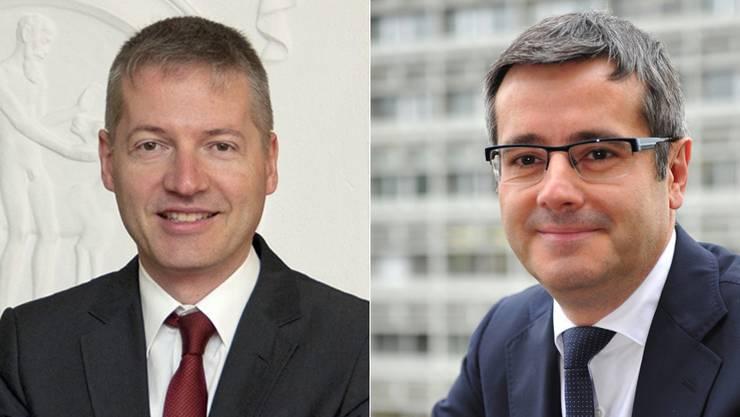 Thomas Marbet (Finanzen) und Benvenuto Savoldelli (Bildung).
