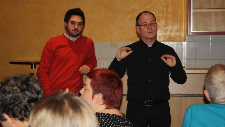 NR Wermuth und NR Chopard beim Bericht über die Frühlingssession 2013.