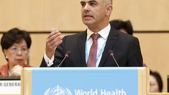 Bundesrat Alain Berset bei der Eröffnung der WHO-Vollversammlung in Genf.