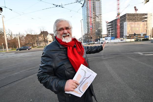 Urs Müller will eine neuen Tramgleis am Nordende des Centralbahnplatzes