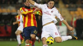 Milans Zlatan Ibrahimovic trifft gegen Lecce mit einem Traumtor