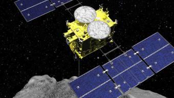 Computer-Grafik, die den Abwurf einer Sprengbombe von der Raumsonde Hayabusa2 auf den Asteroiden Ryugu zeigt. Die heikle Sprengung am 5. April verlief erfolgreich.