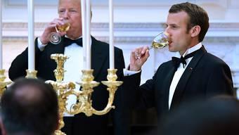 Französische Weine aus amerikanischen Kellern: US-Präsident Donald Trump empfängt zu seinem ersten Staatsbankett im Weissen Haus Frankreichs Präsident Emanuel Macron.