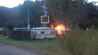 Wohnwagenbrand in Bubendorf
