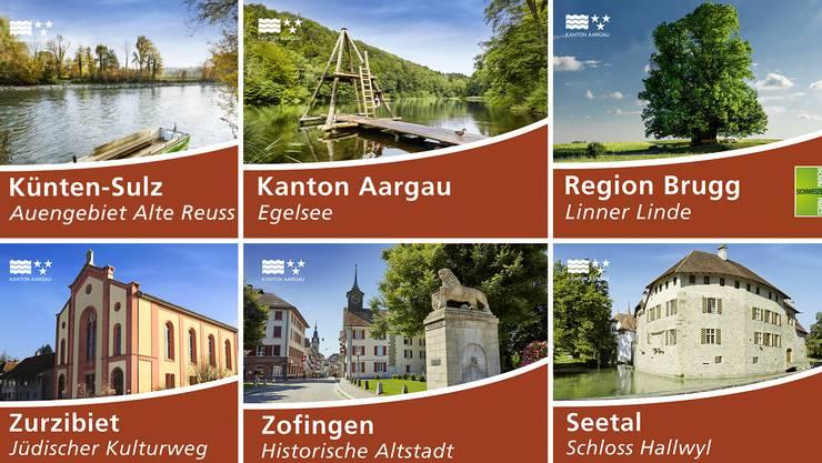 Der Kanton Aargau hat 43 neue Tourismusschilder erhalten – das sind sie alle.