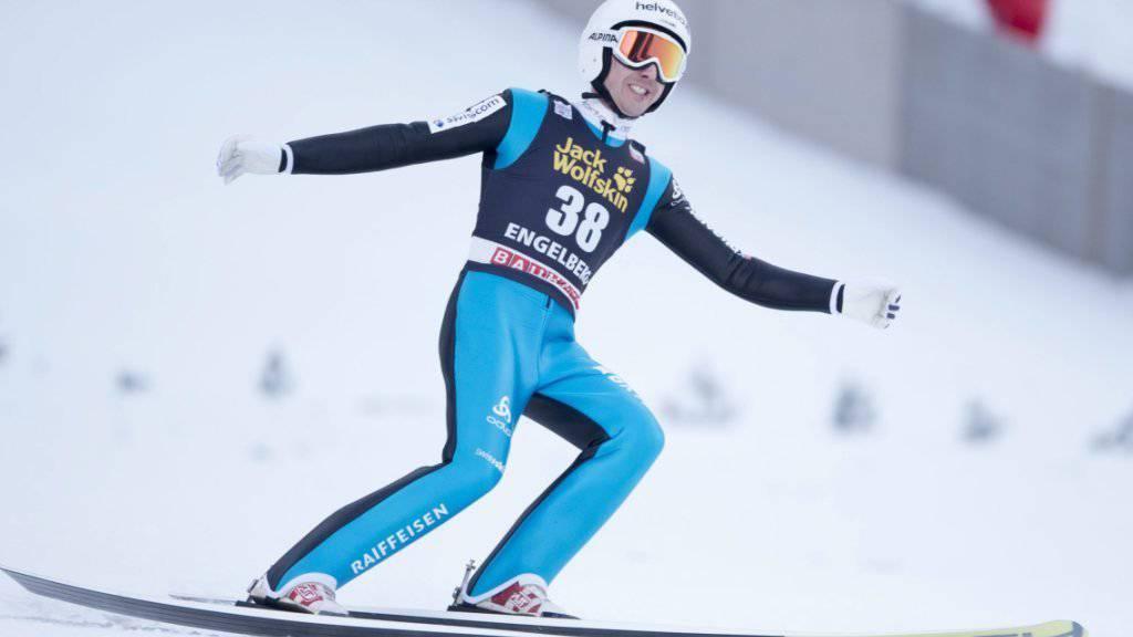 Simon Ammann vermochte im ersten von zwei Weltcup-Springen in Engelberg nicht zu überzeugen