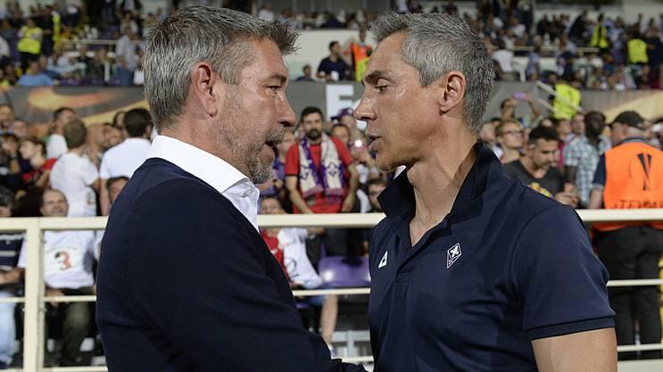 Im Gegensatz zu Paolo Sousa (rechts) kann Urs Fischer (links) in der Muttersprache kommunizieren. FCB-Sportdirektor Georg Heitz sieht das als Vorteil.