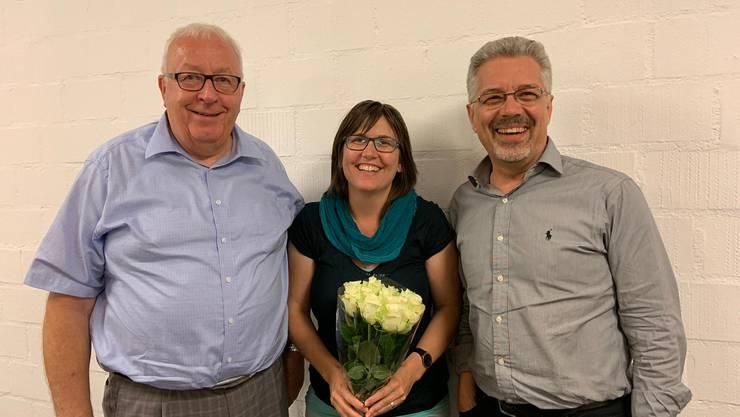 Von links nach rechts: Martin Henzmann, Ortsparteipräsident Muriel Jeisy-Strub, Nationalratskandidatin Konrad Schenker, Gemeinderat CVP