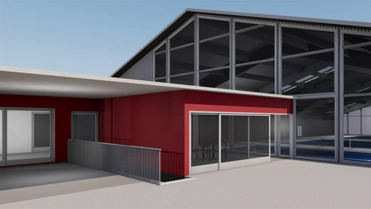 So könnte die Fricker Tennishalle dereinst aussehen. Bereits klar ist, dass sie drei Courts bekommen wird.