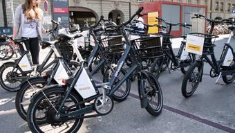 Publibikes in der Stadt Bern. (Foto: KEYSTONE/Peter Schneider)