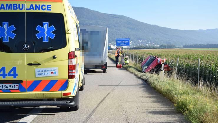 Auf der Autobahn A1 zwischen Niederbipp und Oensingen hat sich am Dienstagmorgen ein Auto überschlagen.